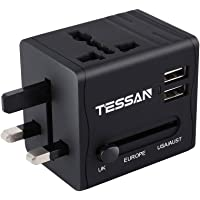 TESSAN Universal Travel Adapter with USB - International Worldwide AC Power Plug Converter Wall Charger - 2 USB Port 5V/2.1A - Covers Australia, China, Japan, UK, US, Europe