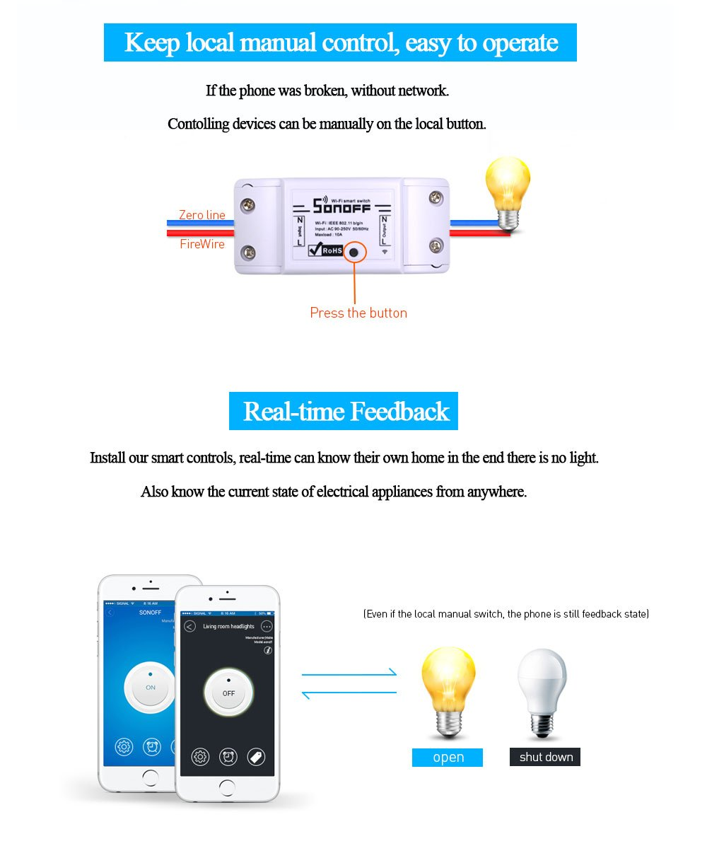 Sonoff Basic Smart Remote Control Wifi Switch Compatible With Alexa The Wireless Device Has Four Modes Toggle Diy Your Home Via Iphone Android App 4pack