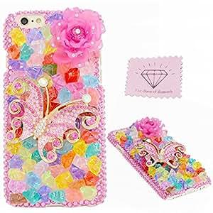 iPhone 6s plus (13,97 cm) leopardo, encanto ultrafina de diamantes y plástico duro ligeros para Apple iPhone 6 plus/6s plus 13,97 cm funda protectora teléfono piel + paño limpio