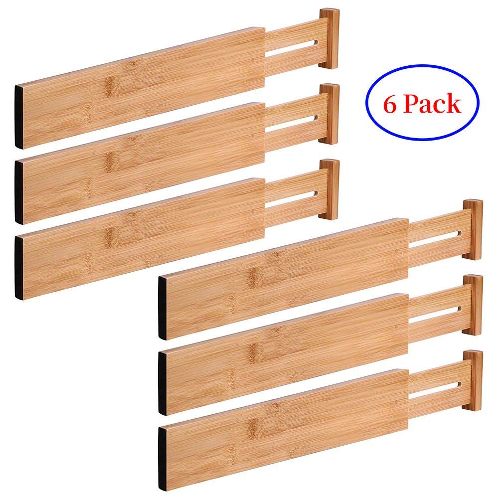 G-LEAF 6 Set Drawer Dividers Bamboo Adjustable Kitchen Drawers Organizer Divider by G-LEAF (Image #1)