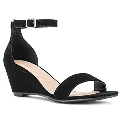 d0f8264f4e79 Amazon.com  RF ROOM OF FASHION Women s Ankle Strap Low to Mid Wedge ...