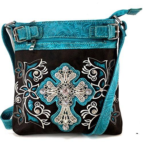 Justin West Western Laser Cut Rhinestone Silver Cross Messenger Handbag with CrossBody Strap (Black Turquoise)