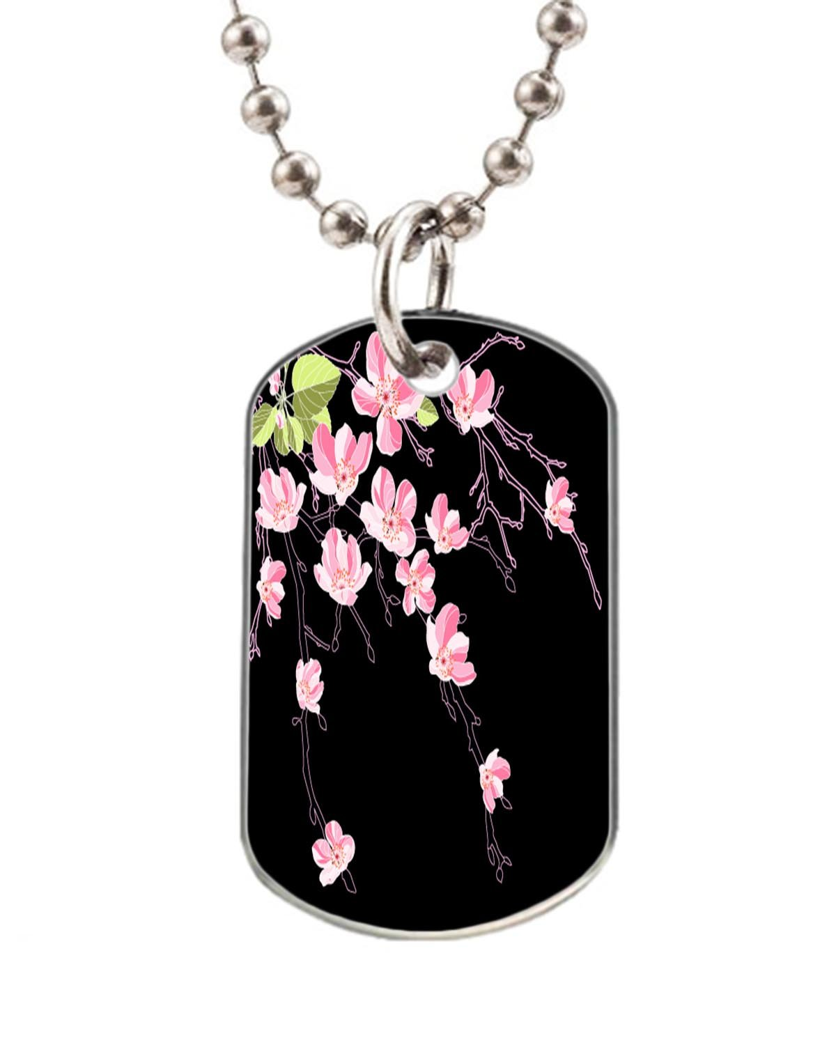 Apple Tree Dog pet tag- Big-Size Oval Dog Pet Tag 1.32 x 2.2 inche with 38  Aluminum Bead Chain