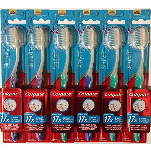Colgate Slim Soft Gliding Tips Toothbrush, Extra Soft, Compact Head - Pack of 6