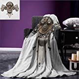 Industrial picnic blanket Stylized Collage with Owl Figure Cog Hardware Gear Machinery Animal Print soft throw blanket Grey White Brown size:51''x31.5''