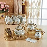 DELISI Luxury European-Style Gold-Plated Ceramic Coffee and Tea Set Porcelain Tea Service Tableware with Metal Rack Set of 22, Rattan Pattern