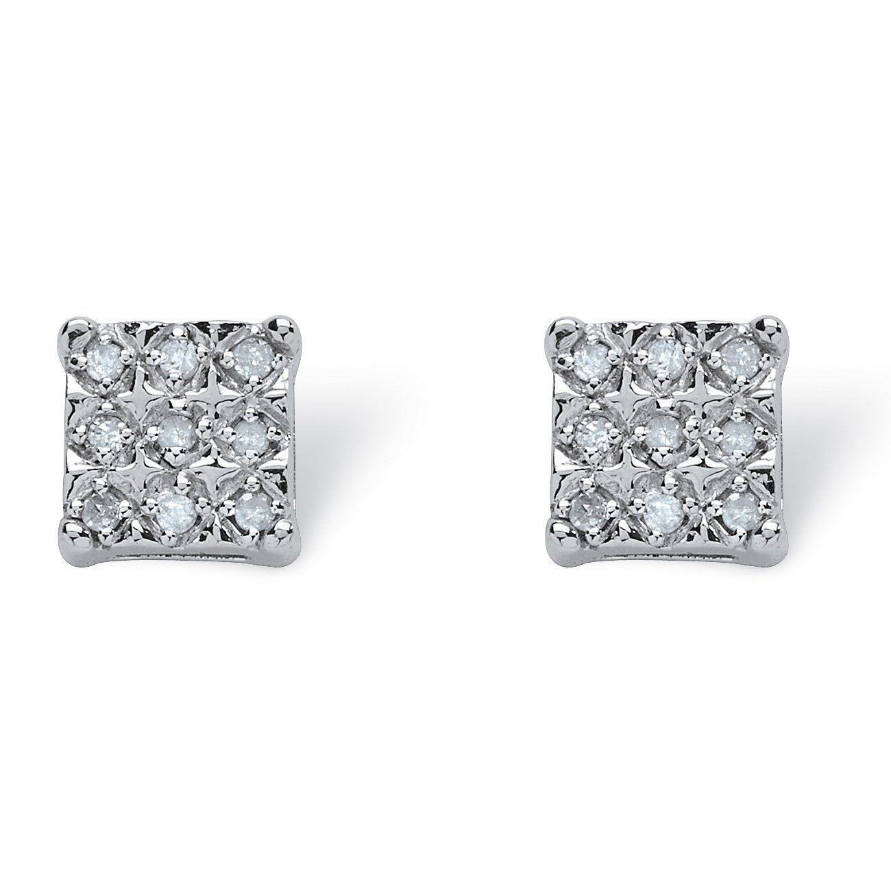 White Diamond Platinum over .925 Silver Square Stud Earrings (.14 cttw, HI Color, I3 Clarity)