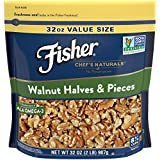 FISHER Chef's Naturals Walnut Halves & Pieces, No Preservatives, Non-GMO Project Verified, 32 Ounce