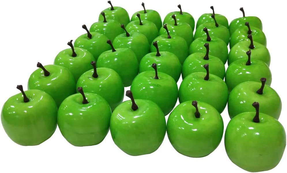 "Lorigun 30pcs Artificial Lifelike Simulation 1.3"" Mini Green Apples Fake Fruits Photography Props Model"
