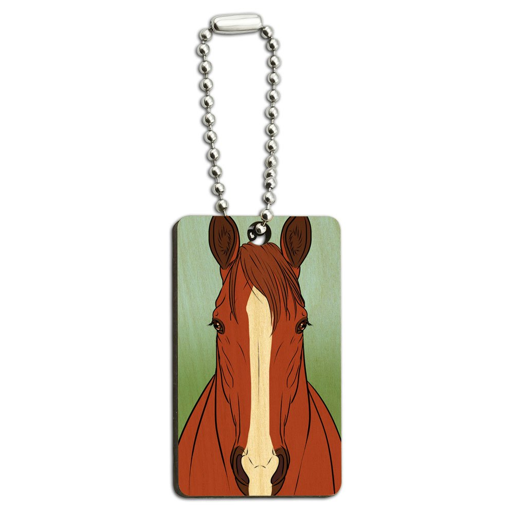 Horse Chestnut White Strip Wood Wooden Rectangle Key Chain