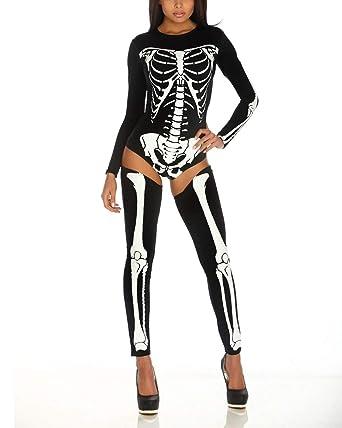 911ebe3757 Amazon.com  F style Women s Sexy Hollow Jumpsuit One Piece 3D Printed  Skinny Stretch Bodysuit (Medium