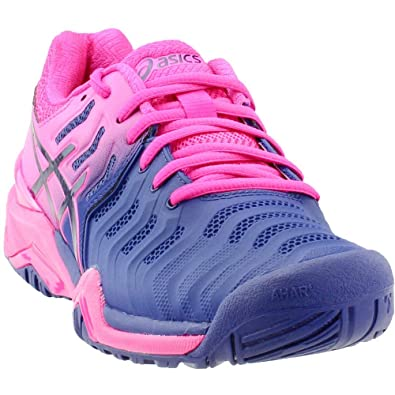 54850e9db89b ASICS Women s Gel-Resolution 7 Blue Print Blue Print 5 ...