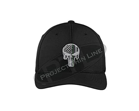 Embroidered Thin Green Line Skull Subdued American Flag Military Federal  Agent Black Flexfit Hat (S 9c68a4132ad