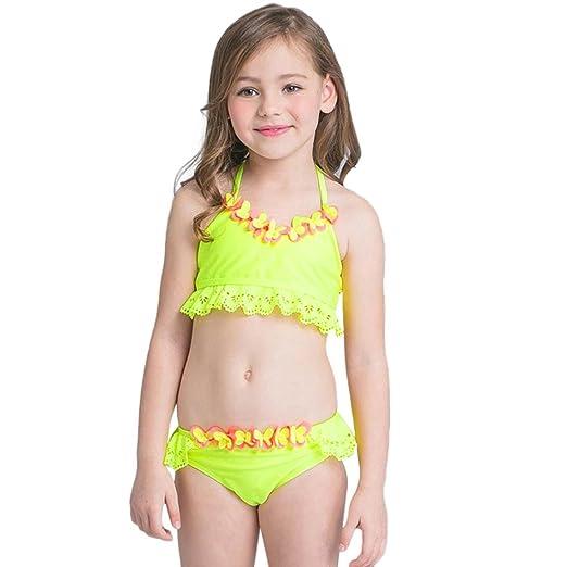 31f63c73fc36 Fineser Kids Little Girls Swimsuit 2Pcs Flowers Hollow Swimwear Beach Bikini  Set (Yellow, 3T