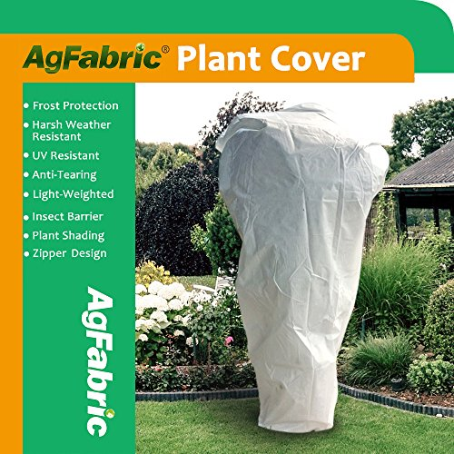 Agfabric Plant Cover Warm Worth Frost Blanket – 0.95 oz Fabric of 108″x 108″ Shrub Jacket, Rectangle Plant Cover with Zipper for Season Extension&Frost Protection