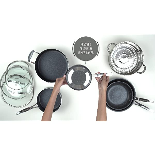 GRANITESTONE 10 Piece Nonstick Cookware Set, Scratch-Resistant, Granite-Coated, Dishwasher and Oven-Safe, PFOA-Free As… 7