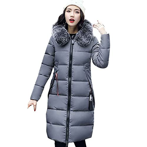 Masterein Mujeres gruesas abrigos de invierno Abrigo de piel grande Abrigo de algodón delgado abrigo...