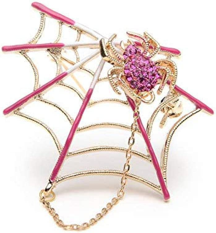 Brooch Rhinestone Black Pink Magnet Spider Web Brooch Anti-Going Silk Scarf Buckle Coat Western Ornament Badge Gift-2