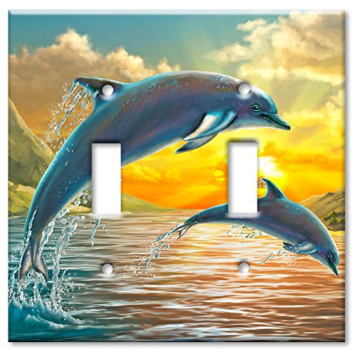 (Art Plates Brand Double Toggle Switch / Wall Plate - Dolphins At Sunset)