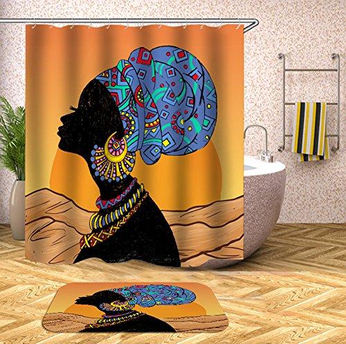 GD Home & Garden Shower Curtain Traditional African Women Sunrise Landscape Dessert Portrait Picture Print Waterproof Mildew Resistant Fabric Polyester Shower Curtain 72x72 inch from GD Home & Garden