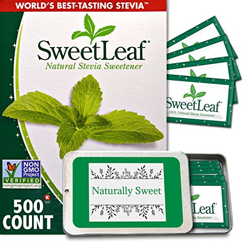 Sweet Xylitol Packets - All Natural Stevia Packets - Sweet Leaf 500 Ct plus BONUS Tin - Sugar Free Sweetener