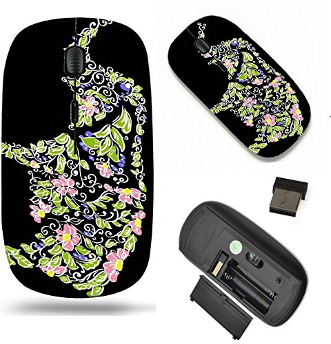 (MSD Wireless Mouse Travel 2.4G Wireless Mice with USB Receiver, Noiseless and Silent Click with 1000 DPI for Notebook, pc, Laptop, Computer, mac Book Design: 10422767 Floral Designer Elephant)