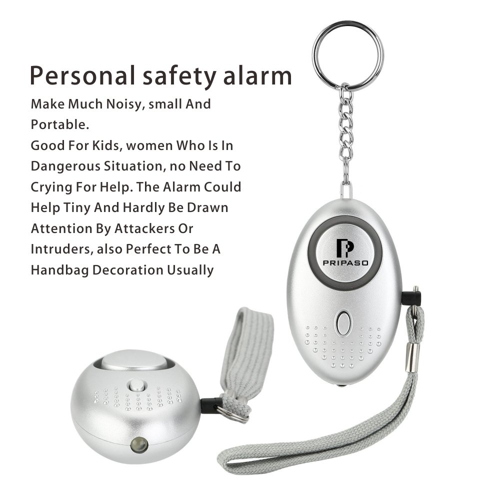 2 Pack Safety Security Alarm 130DB SOS Emergency Personal Alarm Keychain for Women, Children, Elderly, Superior with Pripaso Explorer Self Defense Electronic Device (Silver)