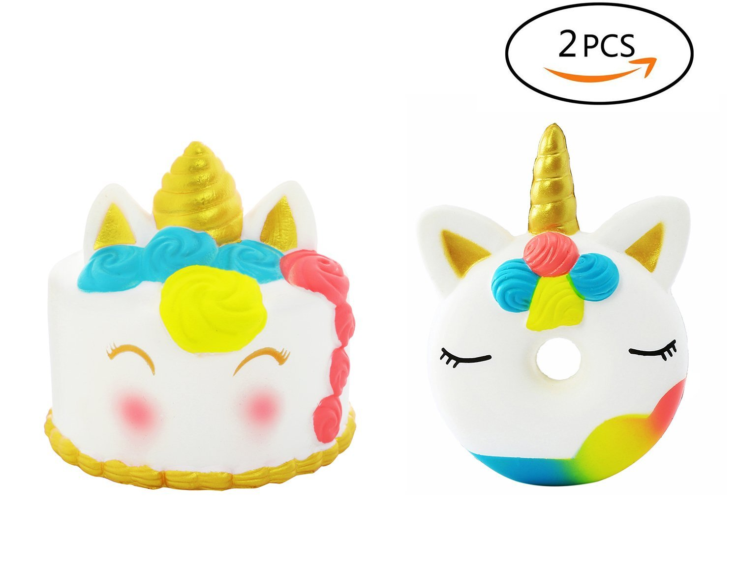 AOLIGE 2PCs Squishies Slow Rising Jumbo Kawaii Cute Unicorn Donut & Golden Unicorn Cake Creamy Scent for Kids Party Toys Stress Reliever Toy