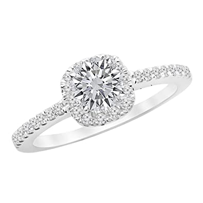 5210b3e44d028 0.75 Ctw Classic Cushion Halo Engagement Ring w/Round 0.5 Carat ...