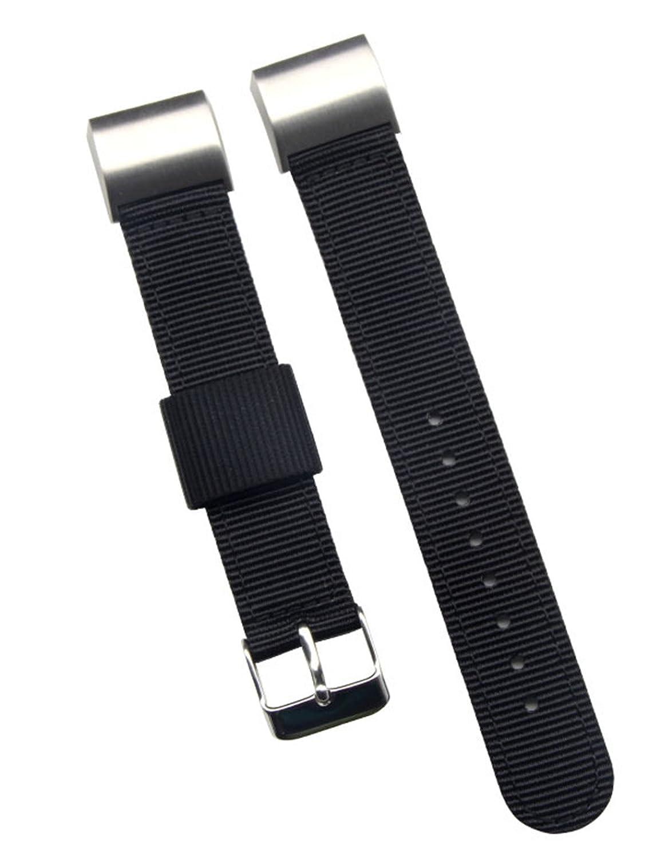 最高級 メンズバリスティックナイロン 時計バンド Fitbit Charge 2スマートウォッチの交換用 18mm ブラック  ブラック B0747NF9X9