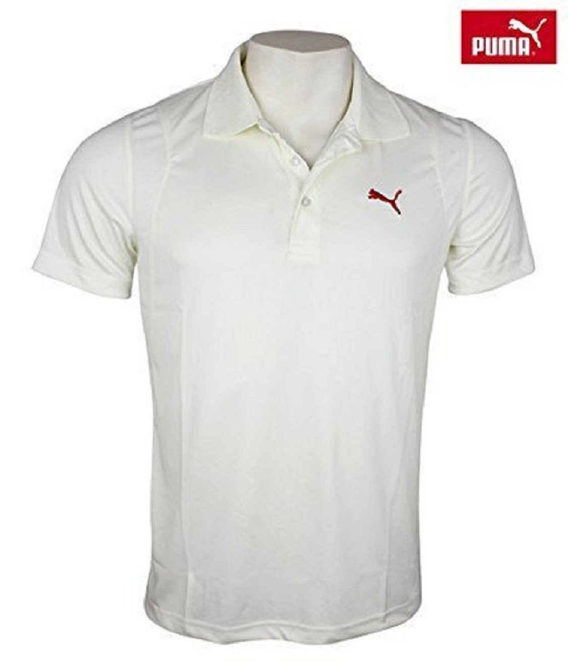1cedbcec789a Puma Cricket T-Shirt Half Sleeve White Uniform Dryfit Dress Medium   Amazon.co.uk  Sports   Outdoors