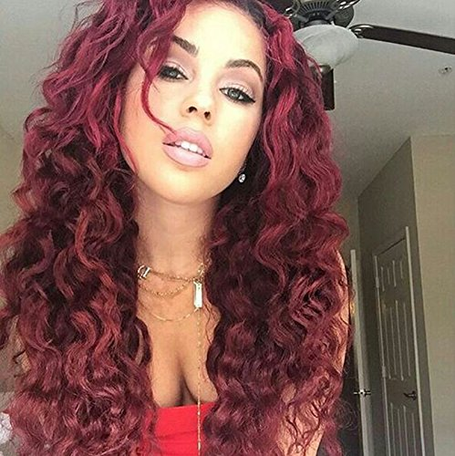 Amazon Com Mersi Red Wigs For Black Women Long Curly Hair Wigs