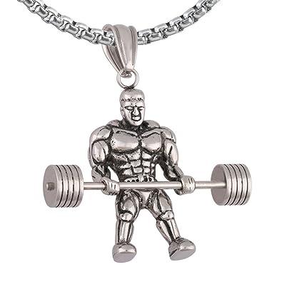 Mancuernas pesas levantamiento de peso para hombre collar con colgante de acero inoxidable + cadena de plata: Amazon.es: Joyería