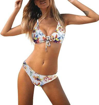 Mujer Biquinis Bañador con Falda Traje de baño de Una Pieza Halter ...