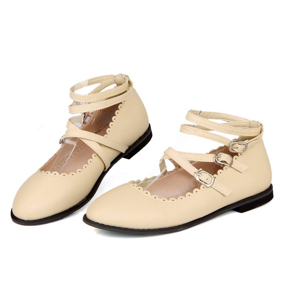BalaMasa Womens Slip-Resistant Multilayer Metal Strap Square Heels Urethane Mary-Jane-Flats