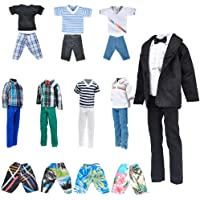 "E-TING Stylish Doll Clothes Pack, Lot 10 Items = 5 Sets Casual Clothing/Outfit with 5 Pair Shoes for 12"" Boy Doll Random…"