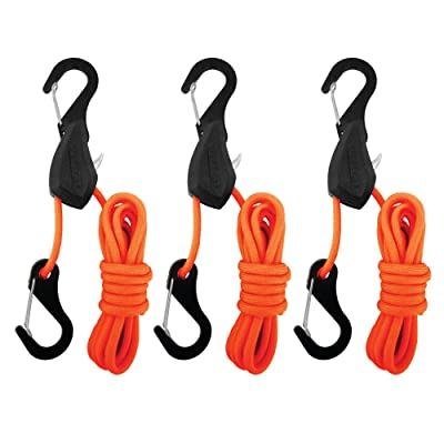 PROGRIP 056370 Better Than Bungee Rope Lock Tie Down with Snap Hooks: 6' Orange Paracord (Pack of 3): Automotive