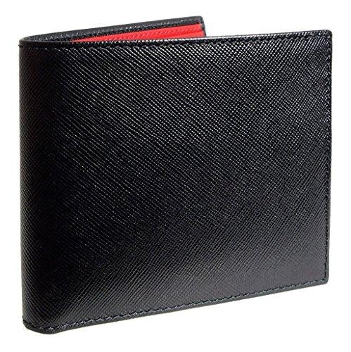 Bi Color Wallet - 8 CC Saffiano Bi-Color Billfold Black-Red