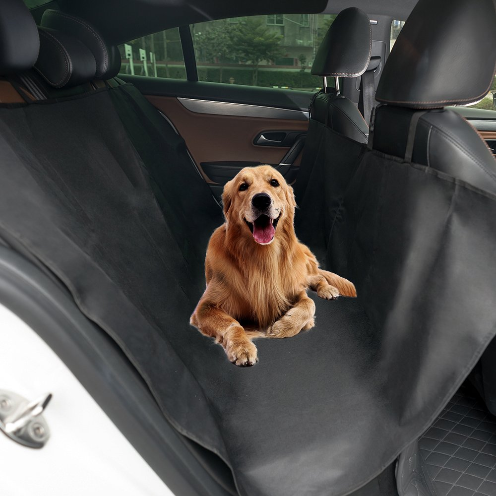 WLWQ Pet Seat Cover, Waterproof & Scratch Proof Dog Car Seat Covers, Hammock Convertible, with Seat Anchors, Machine Washable Backseat Cover for Cars, Trucks and SUV (Black)
