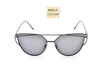 Sucastle Sonne Brille polarisiert Dame Mode Persönlichkeit Sonne Brille Rahmen Sonnenbrille Gezeiten Metall TAC Goldrahmen graues Blatt QWERT 145 57 50 15 156mm IV9bV5x6