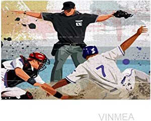 VinMea Jigsaw Puzzles 1000 Pcs, Baseball Player Safe at Home, Art Educational Intellectual Decompressing Fun Game