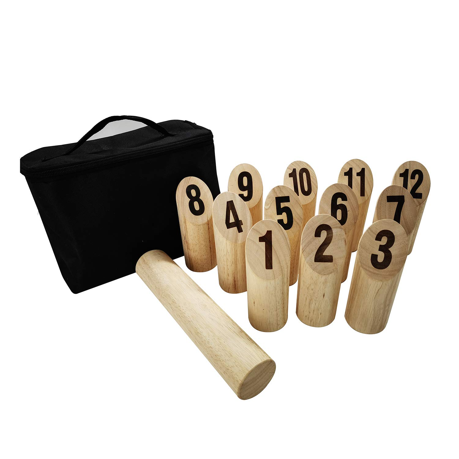 PatiolineRubberwood Number Viking Kubb Set - Outdoor Wooden Throwing Game Giant Yard Lawn Game for Adults Family