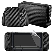 eXtremeRate Full Set Faceplate Skin Decal Stickers for Nintendo Switch with 2Pcs Screen Protector (Console & Joy-Con & Dock & Grip)