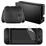 eXtremeRate Black Carbon Fiber Decals Stickers Full Set Faceplate Skins +2Pcs Screen Protector for Nintendo Switch Console & Joy-con Controller & Dock Protection Kit