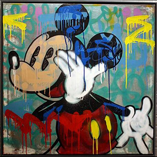 "Handmade ALEC Graffiti Mickey Mouse Paintings Pop Art Canvas Wall Art Street Art Urban Art On Canvas Wall Pictures for Living Room Bedroom Stretched and Framed 32""x32"""