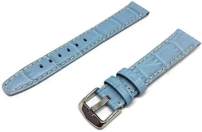 Correa para reloj de piel de becerro con forro de nobuk, 18 mm, color azul claro: Amazon.es: Relojes