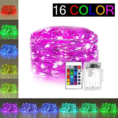 Decorative Lights 16 Colors Changing 50 LEDs Fairy Lights Battery Powered - 16 ft Copper Wire Firefly String Lights Dimmable with Remote Control (Timer) BOHON