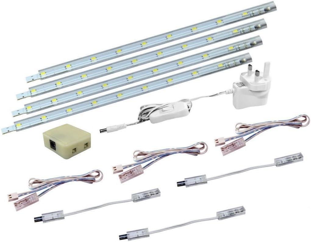 Set of 4 LED Strip Lights Under Kitchen Cupboard Linkable Cabinet Plug in UK
