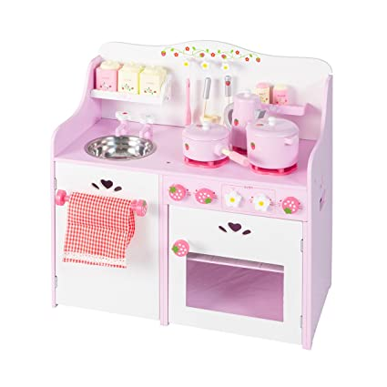 BuyHive Kitchen Playset Toddler Play Kitchen Pretend Cooking Toy Set with  Accessories