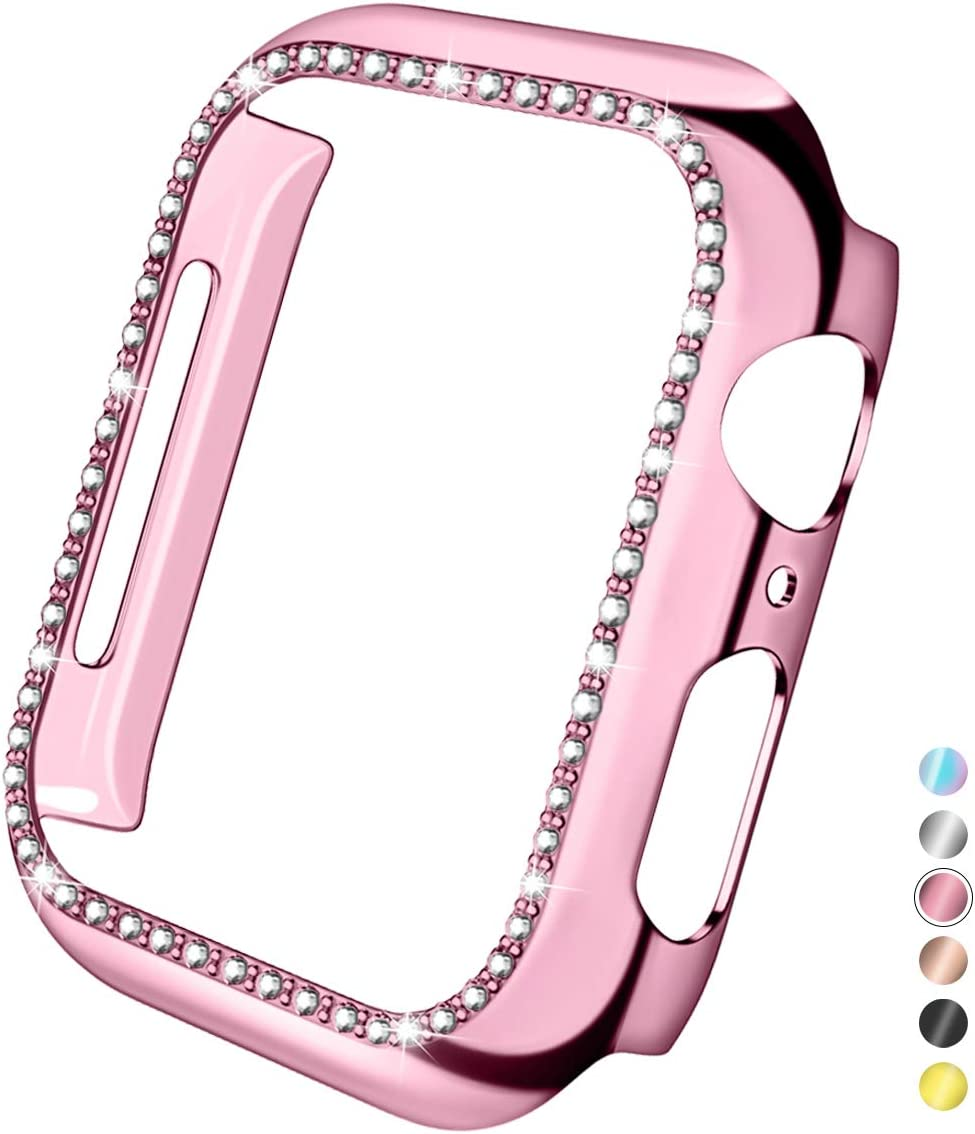 Mastten 42mm Case Cover Compatible with Apple Watch, Bling Diamond Bordered Protector Compatible with iWatch Series 3 2 1, Rose Pink